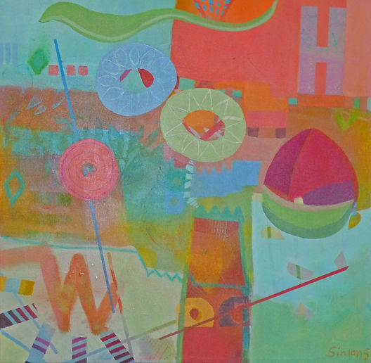 whimsical, abstract art, abstract painting, pastel, blue, green, red, orange, acrylic painting, children's art