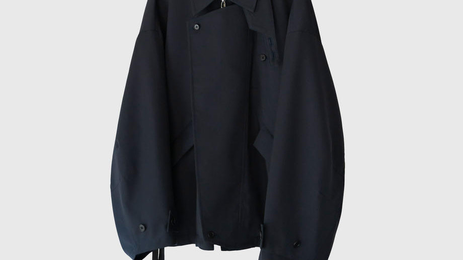 Wool Gabardine Oversleeve Drizzler Jacket (Dark Navy)