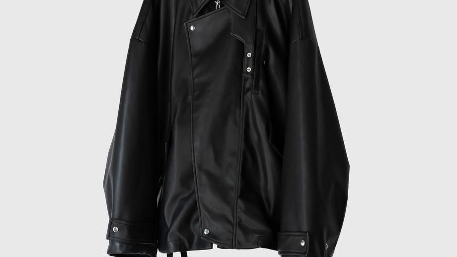 Synthetic Leather Oversleeve Drizzler Jacket (Black)