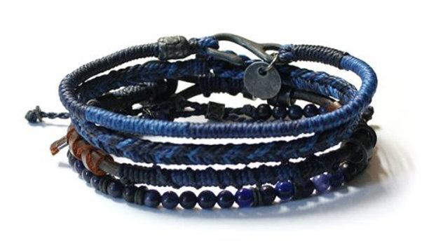 Men´s Earth Bracelet 4 strands Blue
