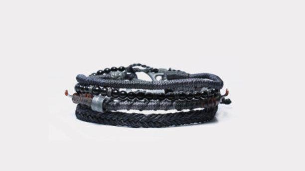 Men´s Earth Bracelet 4 strands Black