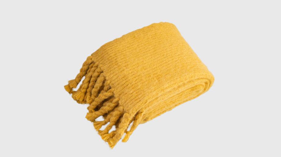 Alpaca Wool Big Stole (Mustard)