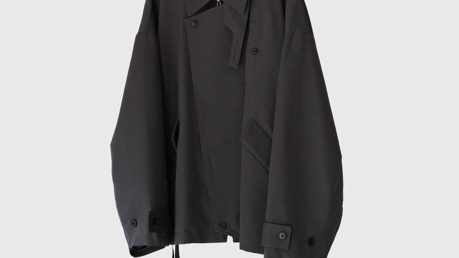 Wool Gabardine Oversleeve Drizzler Jacket (Charcoal Gray)