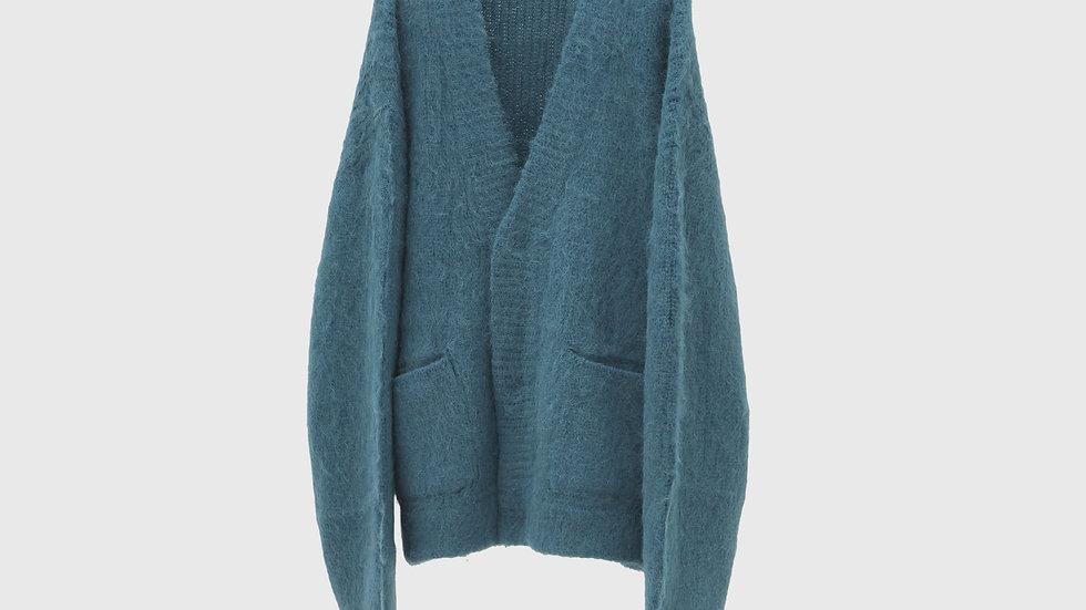Alpaca Wool Vneck Cardigan (Ash Blue)