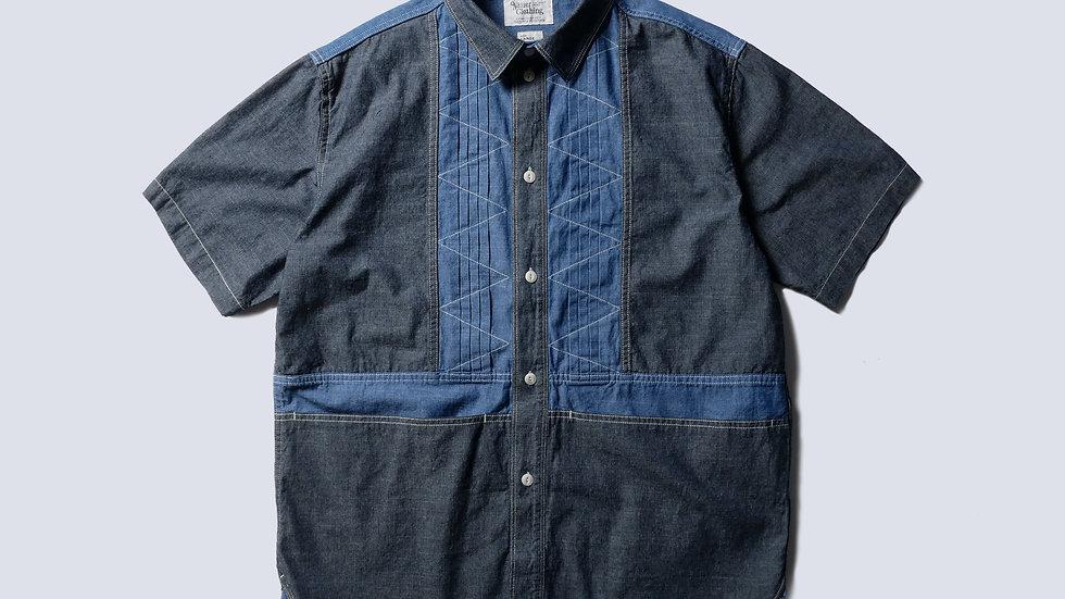 Bluer Pleats Mix Shirt