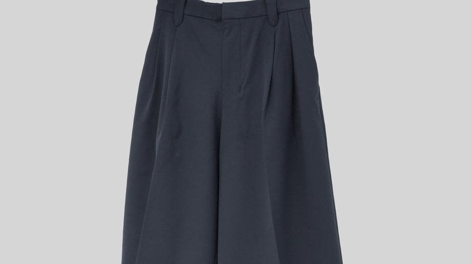 Wide Short Slacks (Navy)