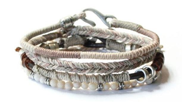 Men´s Earth Bracelet 4 strands Beige
