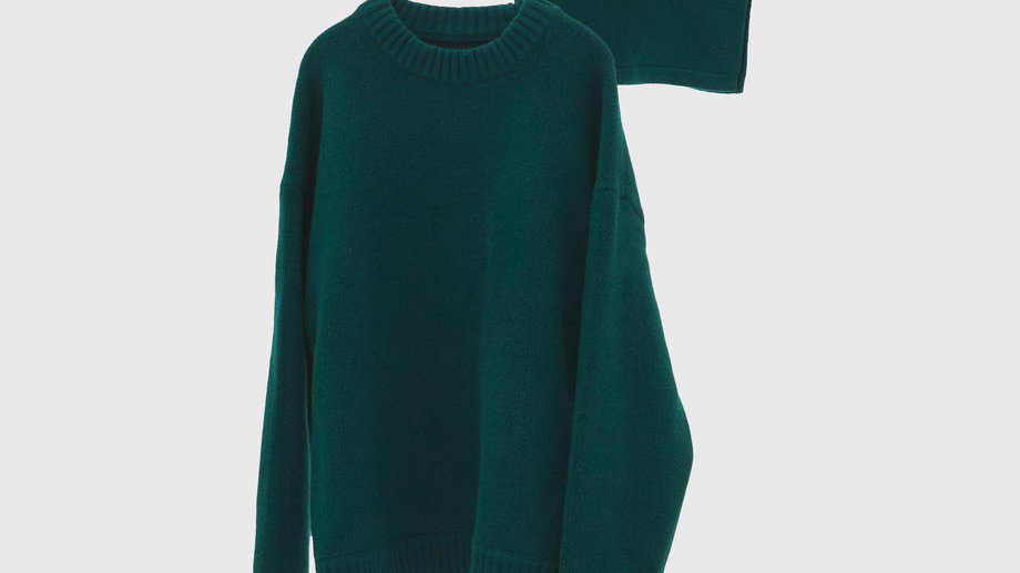 Oversized Layered Knit Pullover (D.Green)