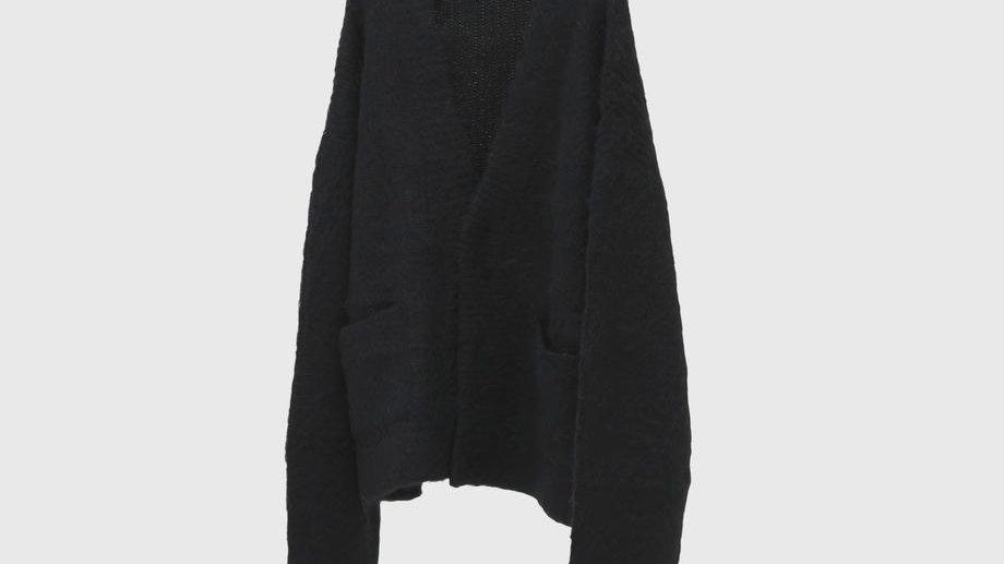 Alpaca Wool Vneck Cardigan (Black)