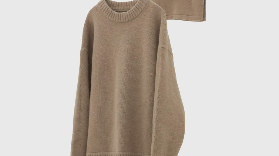 Oversized Layered Knit Pullover (Greige)