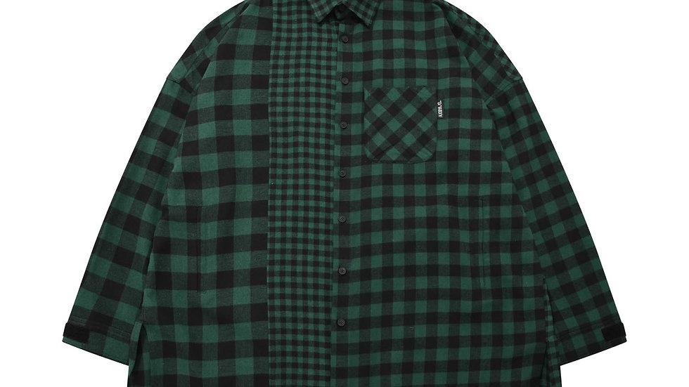 Oversized Buffalo Check Mixed Shirt