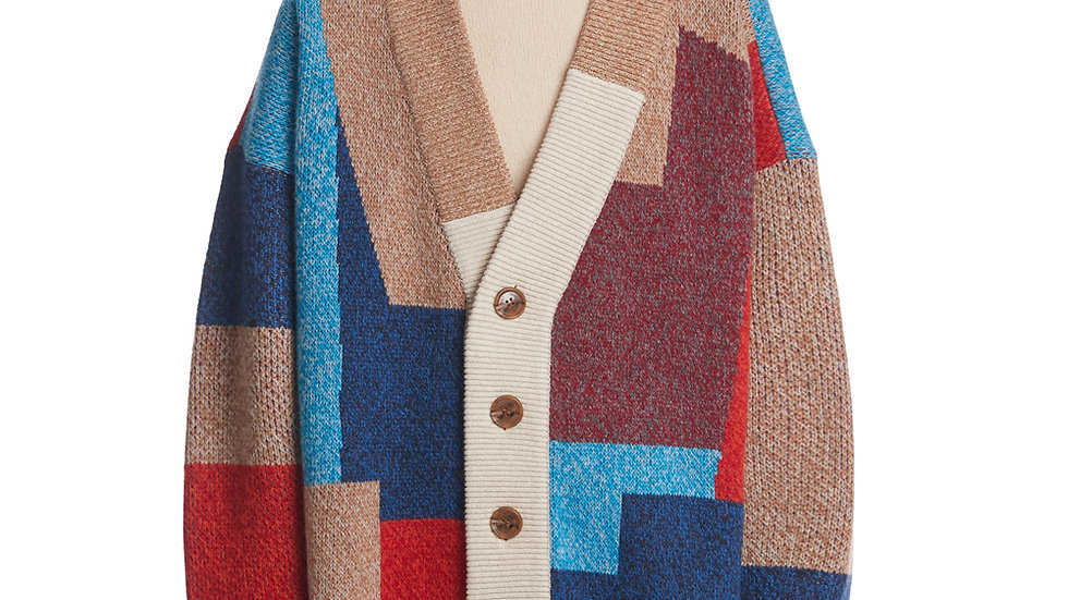 Color Mixed Wool Cardigan Jacket