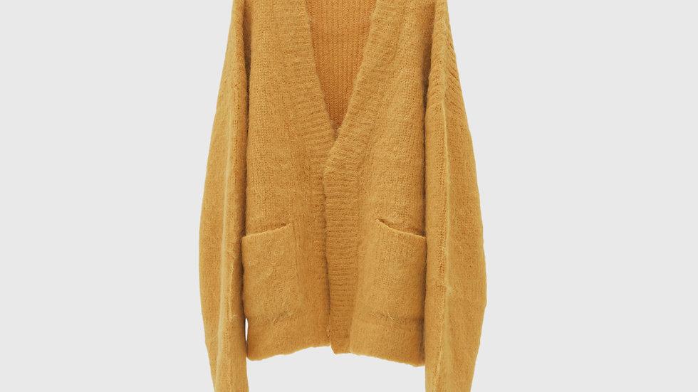 Alpaca Wool Vneck Cardigan (Mustard)