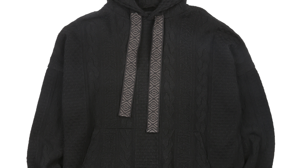 Oversized Cable Stitch Knit Hoodie (Black)