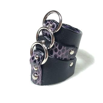 リング3連レザーアーマーリング 紫プリントパイソン