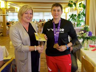 WM-Empfang für Claudia Vogelgsang - VfB Badminton-Ass kommt mit Gold und Bronze aus Katowice zurück