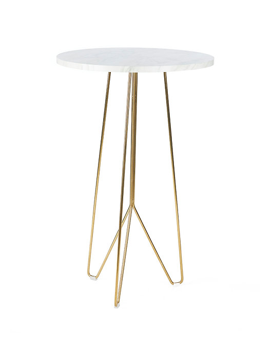 Carrara Marble & Gold Bar Table