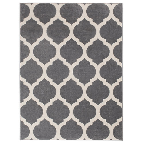 Grey & White Lattice Rug