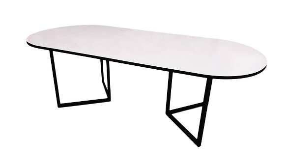 White Racetrack- Black Edge Table