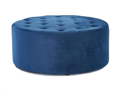 Tufted Velvet Ottoman - Navy Blue