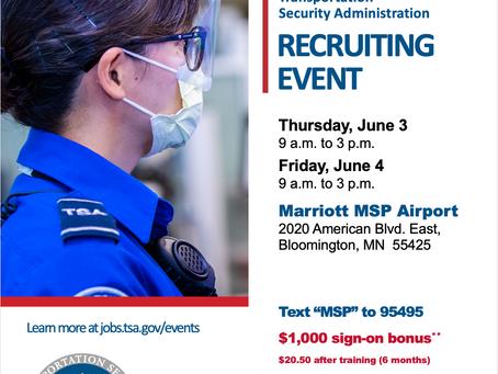 TSA Opportunities for HS Graduates - Hiring June 3rd & 4th!
