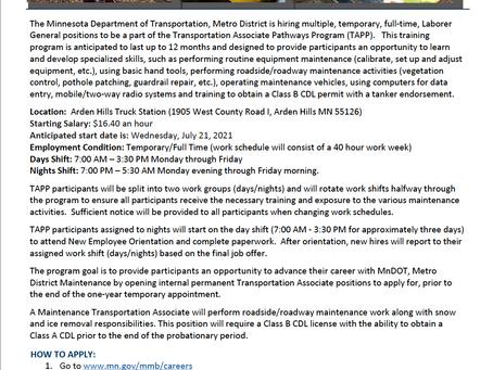 TRANSPORTATION ASSOCIATE PATHWAYS PROGRAM (TAPP) - Apply NOW!