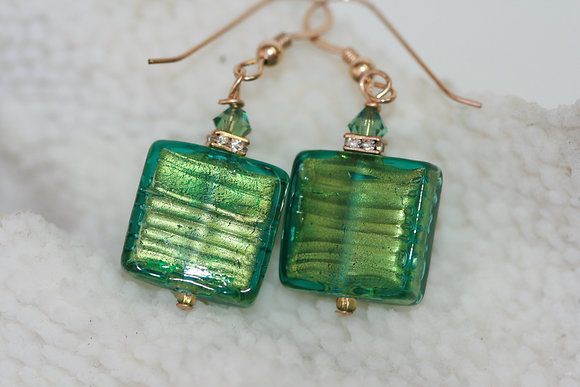 Murano glass gold foil earrings MGGE -08