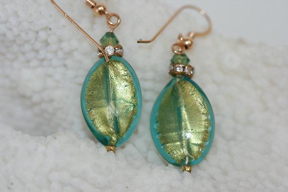 Murano glass gold foil earrings MGGE -03