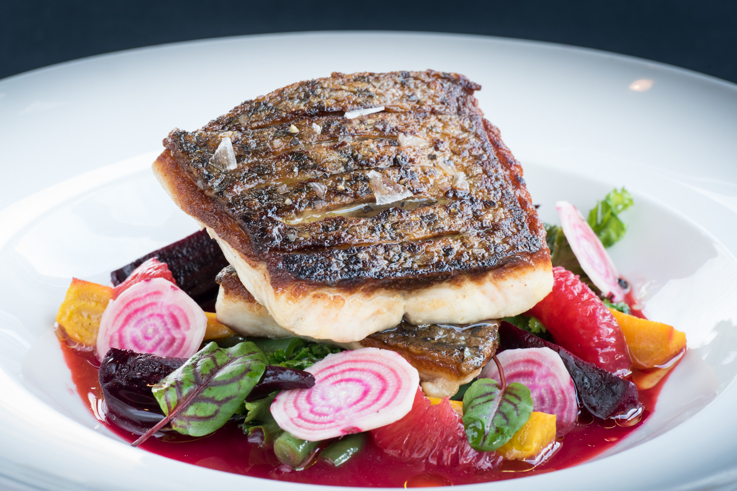 Striped Bass, blood orange, beet