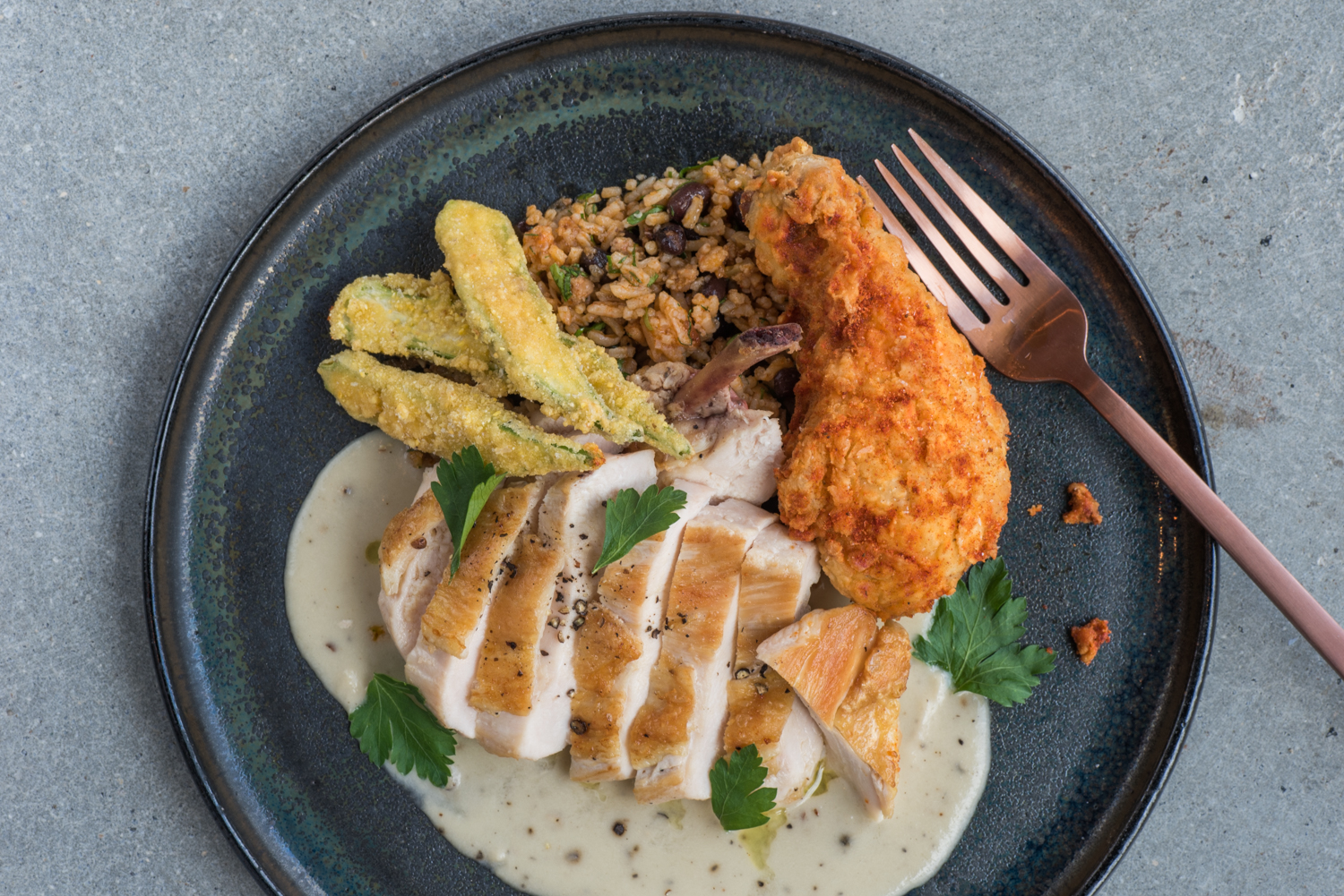 Duo of Chicken, dirty rice, okra