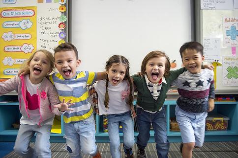 Group of diverse kindergarten students s