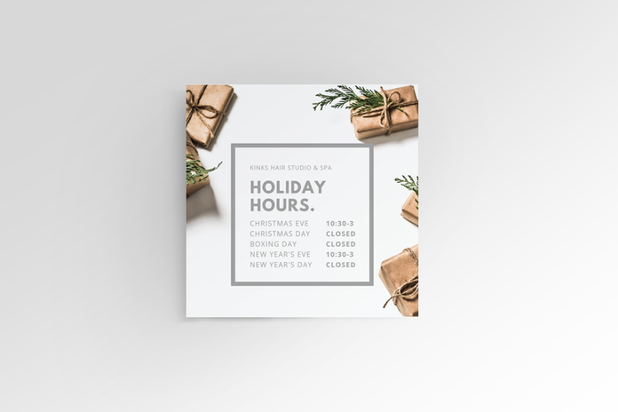 Kinks Hair Studio and Spa Holiday Operations Graphic