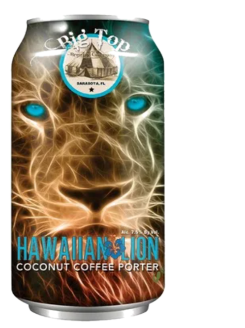 BIG TOP BREWING HAWAIIAN LION COCONUT COFFEE PORTER BEER
