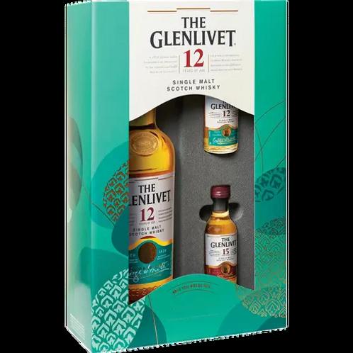 GLENLIVET 750 ML 12 YEAR SCOTCH W/ 14 YEAR & 15 YEAR 50 MLS GIFT SET