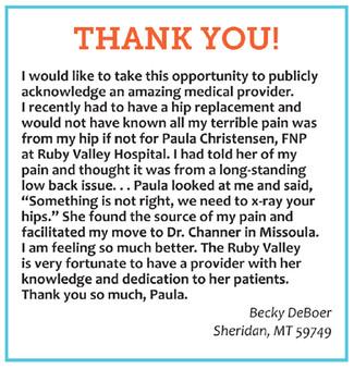 Thank You to Paula Christensen, FNP