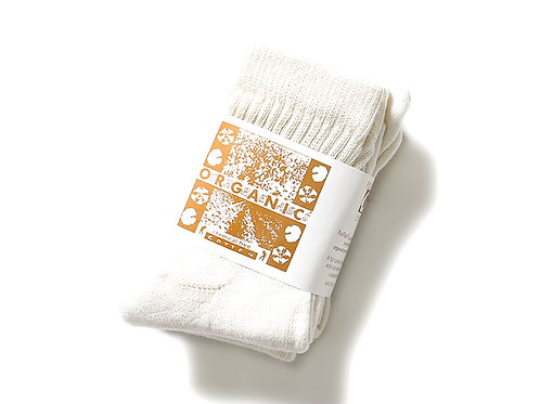 """CREAM"" 3PACK ORGANIC SHORT TOP CREW SOCKS"