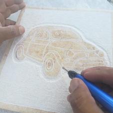 Targhetta in marmo disegno Fiat 500