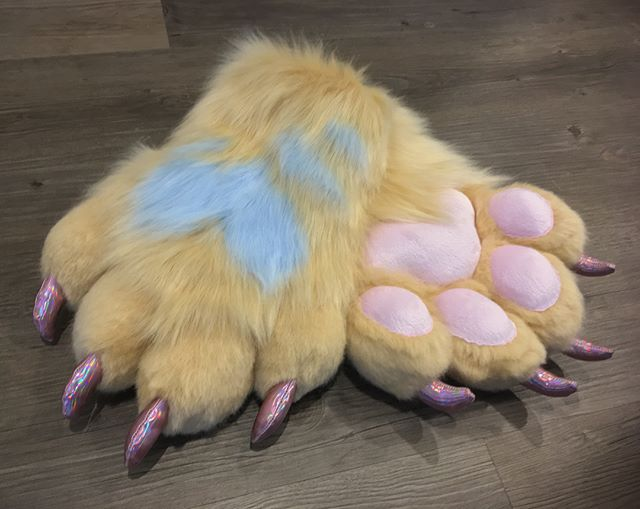 Gorgeous handpaws with pink holographic claws, minky pawpads and precious light blue heart markings!
