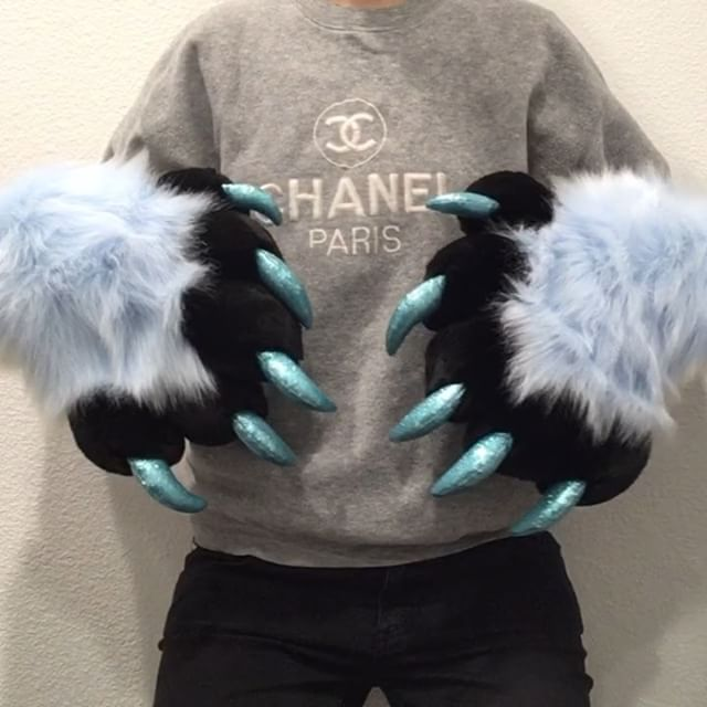 Getting in the holiday spirit with these icy paws! Light blue with black fur, blue minky pawpads and
