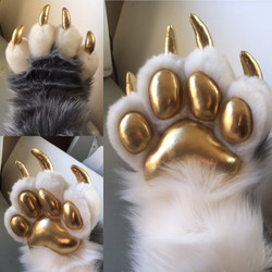 Gold Claws and Pawpads fursuit handpaws