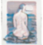 watercolour wash drawing, womens back view