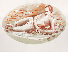 male on beach, nude drawing