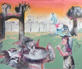 painting of a small group of people trying to catch birds