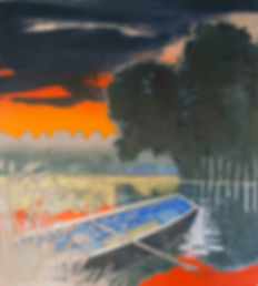 blueboat drifting into the rushes painting