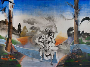 mexican, u.s.a. boarder wall large painting someone climbing over