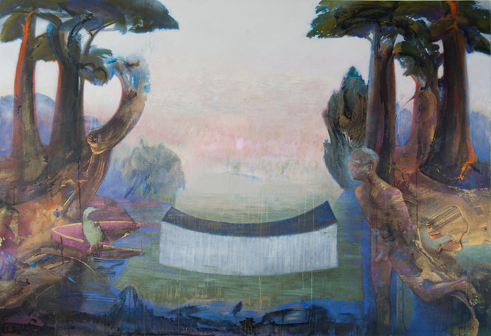 large painting illustrating Martin heidegger's ideas