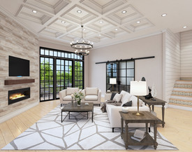 Ceiling treatment and TV wall design with industrial office doors at 30 North Park