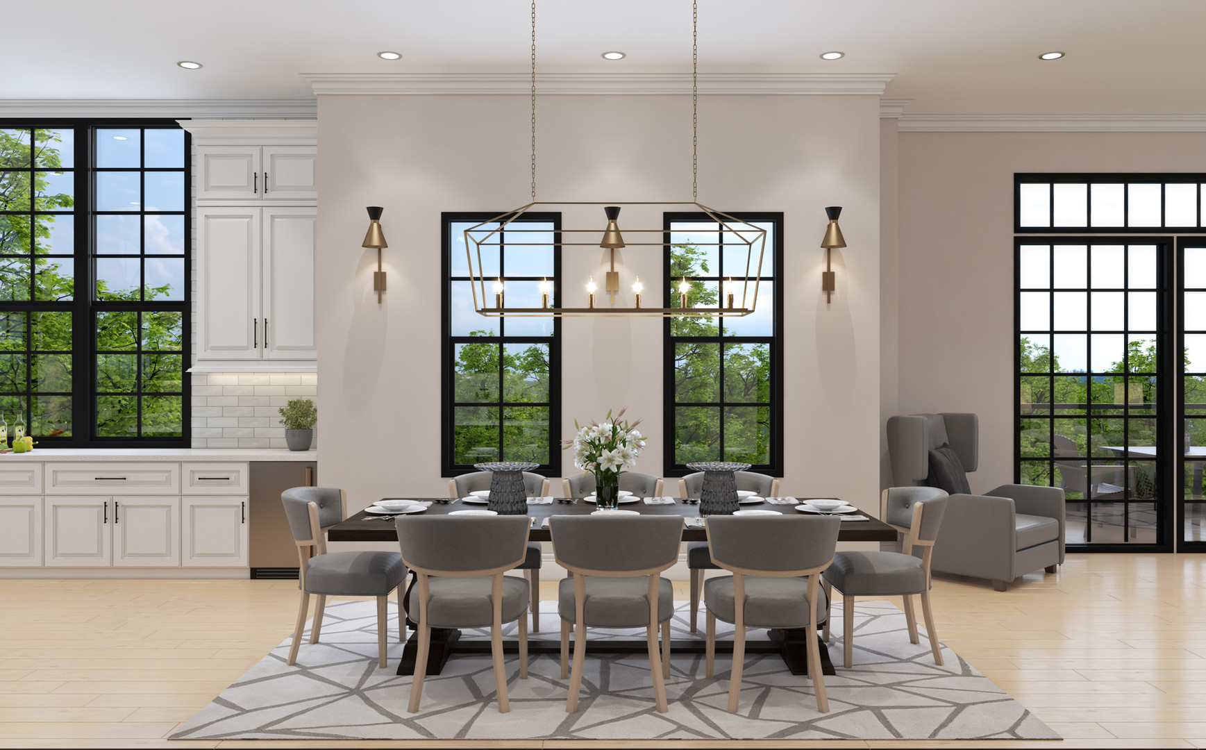 Open contemporary dining rooms
