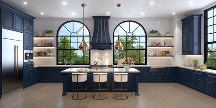 Modern luxury kitchen.  Navy and gold with floating shelves.