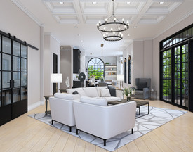 Living Room designed with ceiling treatment at 30 North Park